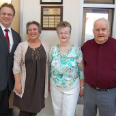 Jim and Shirley Little pictured with Councillor Stephen Adams and Barb Allen